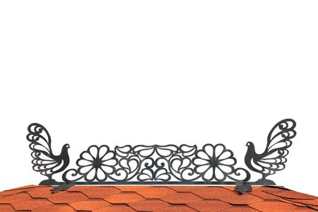 metal ornament with pigeons on the roof with space for text Archivio Fotografico
