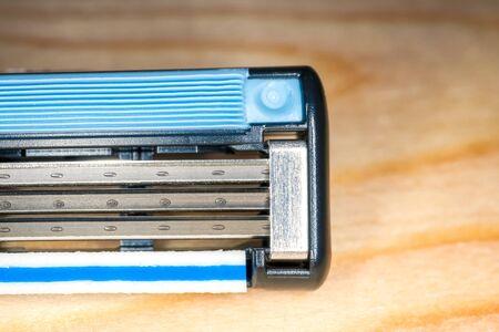 disposable razor blade close up a macro. High quality photo