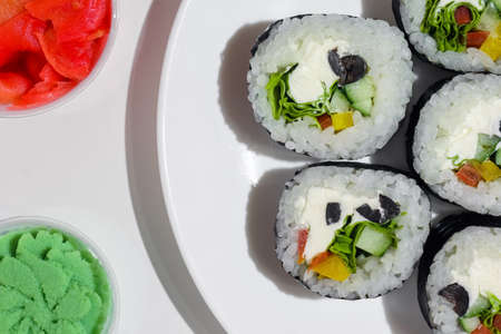 sushi on a white background close up. High quality photo