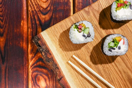 sushi on a wooden background close up. High quality photo