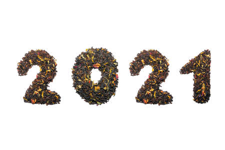 2021 year of tea on a white background top view Фото со стока