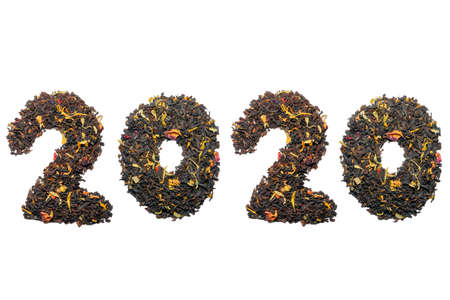 2020 year of tea on a white background top view