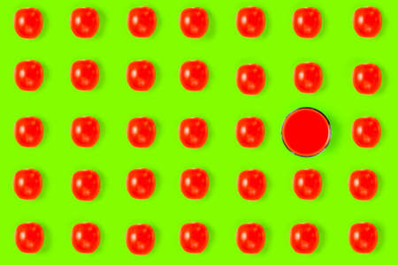 colorful tomato pattern on a colorful background top view