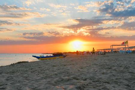 sunset on the beach. beach at sunset