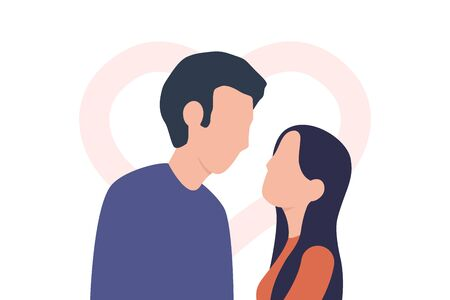 Couple in love. Boy and girl look into each other's eyes. Man and woman and heart shape behind. Vector illustration isolated on white background  イラスト・ベクター素材