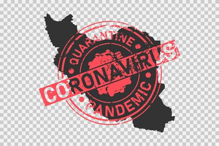 Coronavirus stamp on Iran map. Concept of quarantine, isolation and pandemic of the virus in persian country. Grunge style texture stamp over black iranian map. Vector illustration