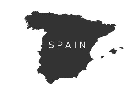 Spain map. Black flat style map with white Spain inscription. Vector illustration isolated on white background