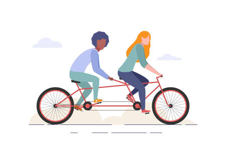 Man and woman riding tandem bicycle. Couple rides a bike. Family teamwork concept. Flat style web illustration isolated o white background