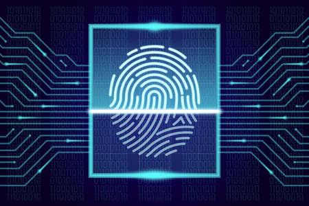Fingerprint scanner, identification system. HUD interface concept. Vector illustration
