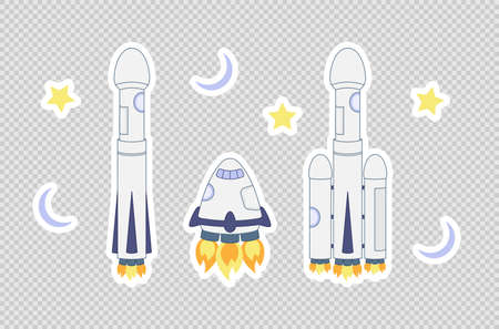 Space rocket set. Three modern reusable spacecrafts. Cartoon sticker style. Flat vector illustration isolated on white background