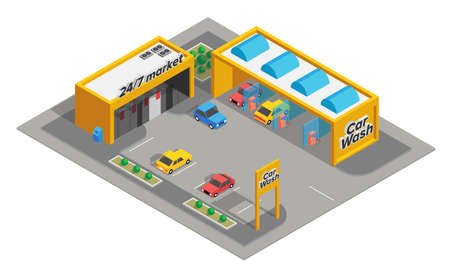 Isometric carwash service concept with market and parking. vector illustration