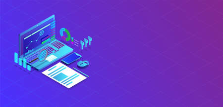 Market trend analysis on smartphone with graphs in isometric flat design style on colored background Иллюстрация