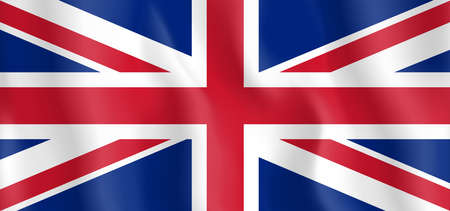 Waving Great Britain, United Kingdom flag. illustration