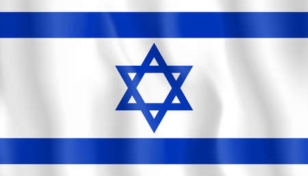 Flag of Israel. Realistic waving flag of State of Israel. Fabric textured flowing flag of Israel