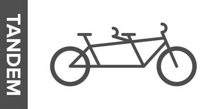 Tandem bike silhouette. flat icon.