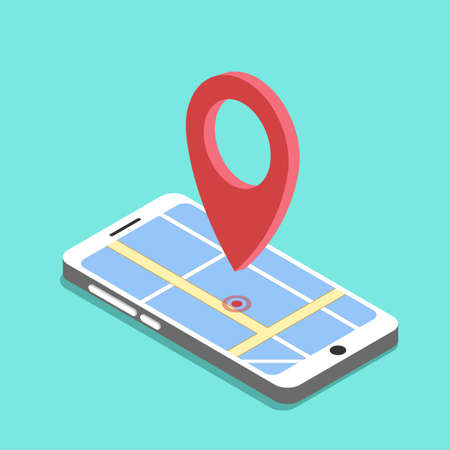 Smartphone with map and red pinpoint on screen, vector illustration
