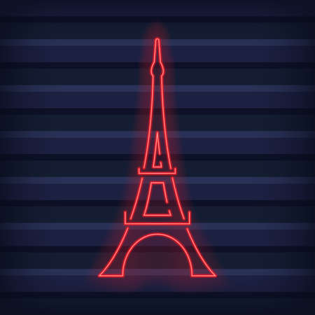 Eiffel tower made from neon lines in a dark wall. Vector illustration 向量圖像