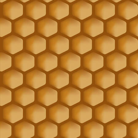 Grid seamless pattern. Hexagonal cell texture. Honeycomb on brown background Ilustração