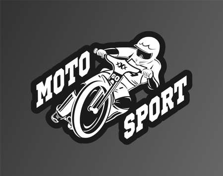 Moto sport logo. A man riding a motorcycle vector illustration