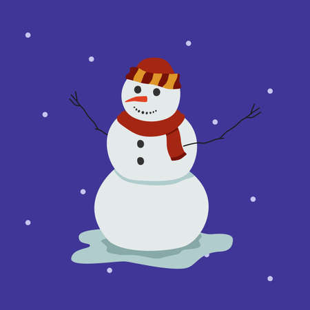 Cartoon snowman illustration. Flat style smiling snowman in scarf and hat Illustration