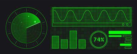 Abstract green radar with targets in action. Military search system. Infographic elements. Mobile device design 일러스트