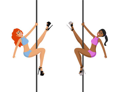 Two pole dancers. Girls dancing pole. Vector illustration isolated on white background Ilustrace