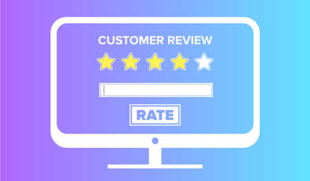 Customer review concept. Desktop template with yellow stars and copy space. Vector illustration.