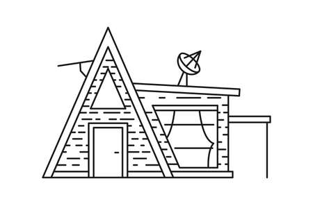 Camping house web icon. Home sign. Black line icon isolated on white background