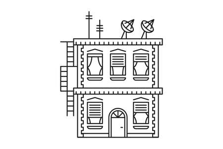 Flat two-storey house, building icon. Vector illustration in flat style isolated on white background  イラスト・ベクター素材