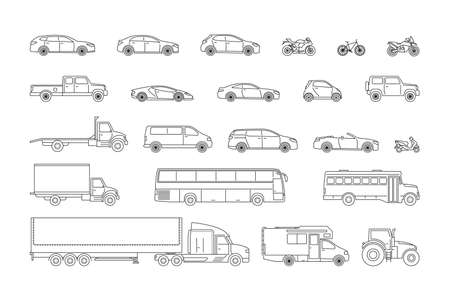 Transpot icon set. 22 objects. Black line web sign of car, motorcycle an bicycle. Flat vector illustration isolated on white background
