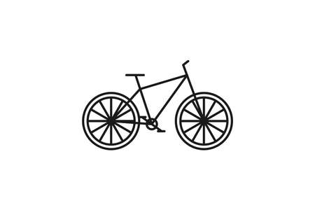 Bicycle icon. Black line web sign. Flat style vector illustration isolated on white background Banco de Imagens - 157160532