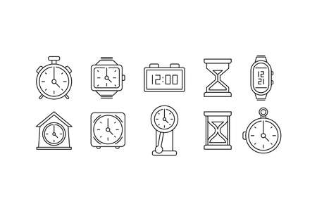 Time clock icon set. Linear web signs. Flat style icons isolated on white background