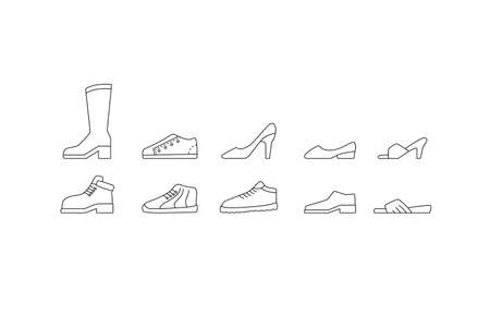 Shoes icon set. Male an female collection. Black line web signs. Vector illustration isolated on white background