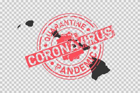 Hawaii coronavirus stamp. Concept of quarantine, isolation and pandemic of the virus in USA, Honolulu. Grunge style texture stamp over black map of hawaiian islands. Vector illustration Illustration