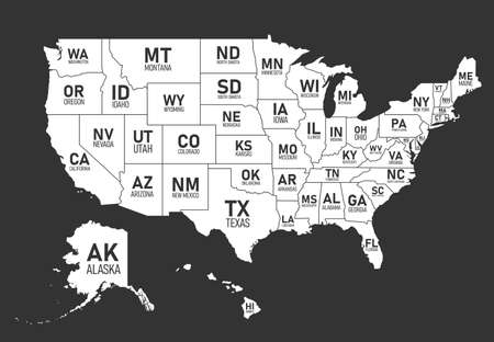 Map of United States of America with state names and abbreviations. Black and white print map of USA. Vector flat style Illustration