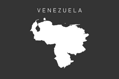 Venezuela map. White map of Venezuela isolated on dark background. Vector illustration