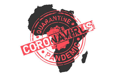 Africa coronavirus stamp. Concept of quarantine, isolation and pandemic of the virus in African continent. Vector illustration isolated on white background