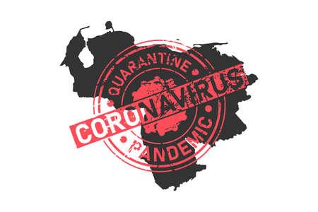 Venezuela coronavirus stamp. Concept of quarantine, isolation and pandemic of the virus in Caracas. Vector illustration isolated on white background