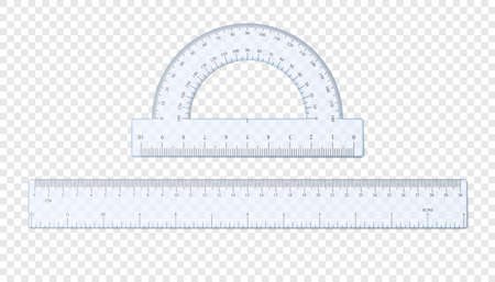 Realistic plastic ruler and protractor. Half circle plastic transparent protractor mockup. Cm and inches ruler. Vector illustration isolated on transparent background Illustration