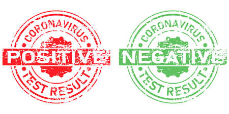 Coronavirus test result stamps. Positive and negative stamp covid-19. Green and Red grunge stamps. Vector illustration isolated on white background