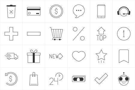 Store icons. Online shopping icon set. Collection of thin line black web icons for online store isolated on white background Illustration