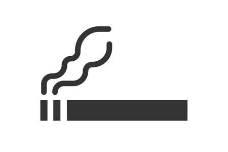 Cigarette icon. Black flat style smoking sign. Vector illustration isolated on white background