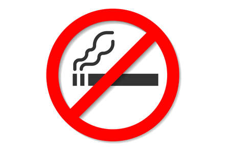 No smoking sign, Smoking cigatette and forbidden sign. Flat style icon isolated on white background