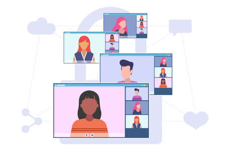 Video conferencing concept. Group of people have a conversation online. Four desktop screens with video call application. Vector flat style illustration isolated on white background