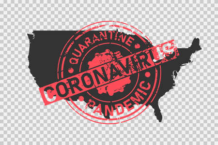 USA coronavirus stamp. Concept of quarantine, isolation and pandemic of the virus in United States of America. Grunge style texture stamp over black map of US. Vector illustration Illustration