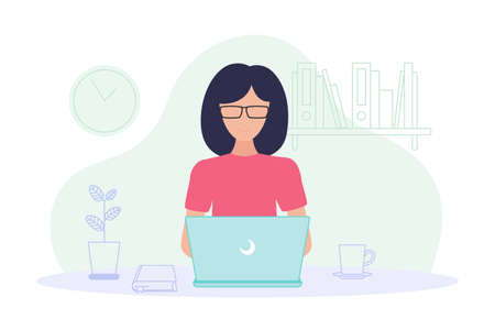Working at home. Coworking space concept illustration. Woman freelancer working on laptop at home. Remote worker concept. Vector flat style illustration isolated on white background