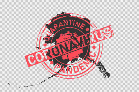 Alaska coronavirus stamp. Concept of quarantine, isolation and pandemic of the virus in USA, Alaska. Grunge style texture stamp over black map of alaska. Vector illustration.