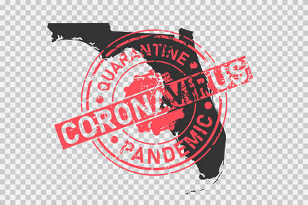 Florida coronavirus stamp. Concept of quarantine, isolation and pandemic of the virus in USA, Miami. Grunge style texture stamp over black map of florida. Vector illustration Illustration