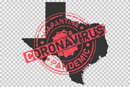 Texas coronavirus stamp. Concept of quarantine, isolation and pandemic of the virus in USA, Austin. Grunge style texture stamp over black map of texas. Vector illustration Illustration