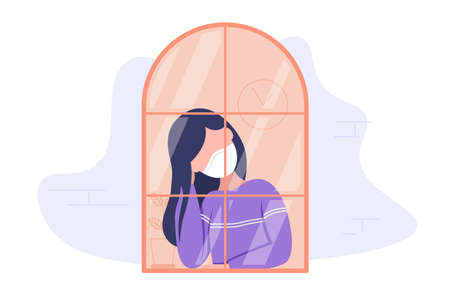 Quarantine concept. Girl in medical mask looking through the window and stay home due to coronavirus. Flat style modern illustration isolated on white background